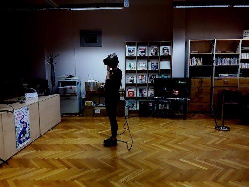 VR wirtualna rzeczywistość na evencie w bibliotece wrocławskiej. HTC VIVE.